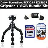 Flexible Gripster + 8GB Bundle For Canon PowerShot SX130 IS SX130IS SX150 IS SX150IS Digital Camera Includes Gripster + 8GB High Speed SD Memory card + USB 2.0 High Speed Card Reader + Clear LCD Screen Protectors