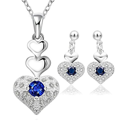 Alimab Gold Plated Womens Jewelry Sets Heart Blue CZ Silver White
