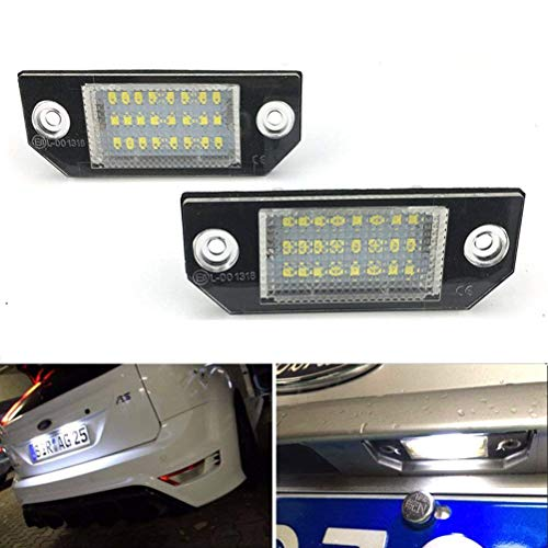 2pcs Car License Plate Light for Ford Focus C-MAX MK2 Error Free 3W 24 Led White Rear License Tag Lights Rear Number Plate Lamp Direct Replacement