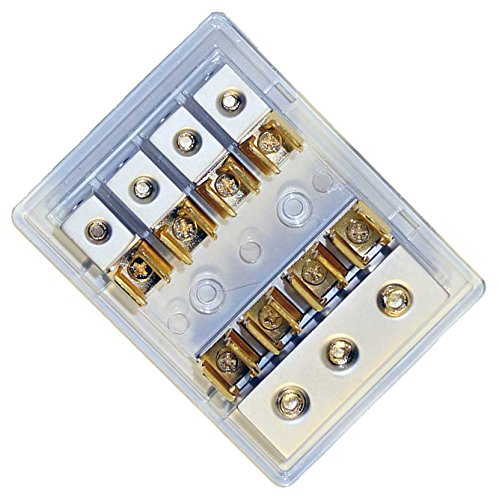 Earthquake Sound FBAG-4 AGU Four Fuse Block/Holder with Three 4-Gauge Inputs and Four 8-Gauge Fused Outputs by Earthquake Sound