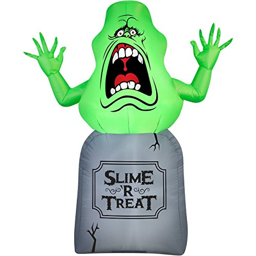Halloween Inflatable 5 Slimer on Tombstone Ghost Busters Prop Decoration By Gemmy -