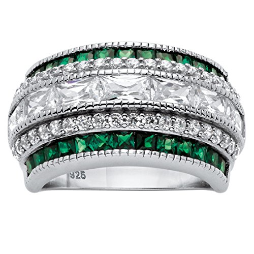 Platinum over Sterling Silver Emerald Cut Cubic Zirconia and Simulated Emerald Vintage Style Ring Size 10