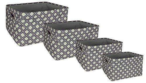 Exceptional Amazon.com: Signature Home 4 Piece Rectangle Printed Decorative Fabric  Grommet Handle Storage Tote Set,Interlocking Quatrefoil: Home U0026 Kitchen