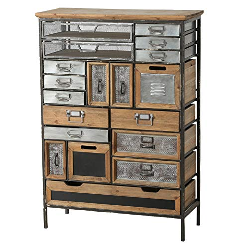 Industrial Chic Multi Drawer Chest, 17 Drawers and 2 Utility Bins, Reclaimed Vintage Style, Iron, Screening, Galvanized Metal, Wood, 43 3/4 Inches Tall