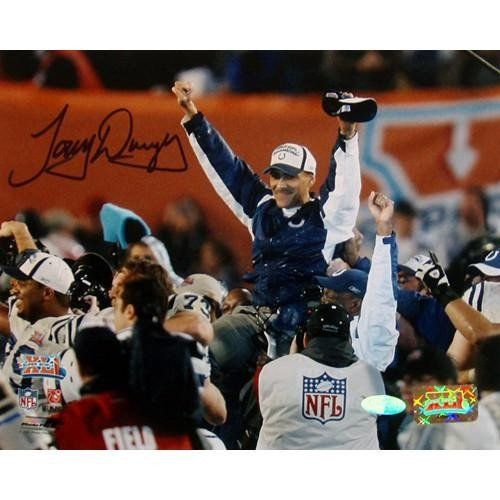 (Tony Dungy SB XLI Carry Off 8x10 Autographed Signed Photo - Authentic Signature)