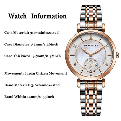 Wrist Watch for Women, Ladies Watch,Rose Gold Watch for Girls,BETFEEDO Waterproof Quartz Dress Watches (Rose Gold/Silver) by Bet Feedo (Image #2)