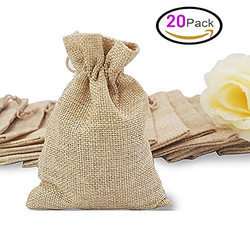 20Pcs Burlap Bags Jewelry Pouches with Drawstring, Resusable Gift Bag Jute Hessian Linen Goodie Bag Packing Storage for Wedding Party Bridal Shower Birthday Christmas Favor, 5 x 4 Inch (Natural) - Party Favor Gift Bags Purses