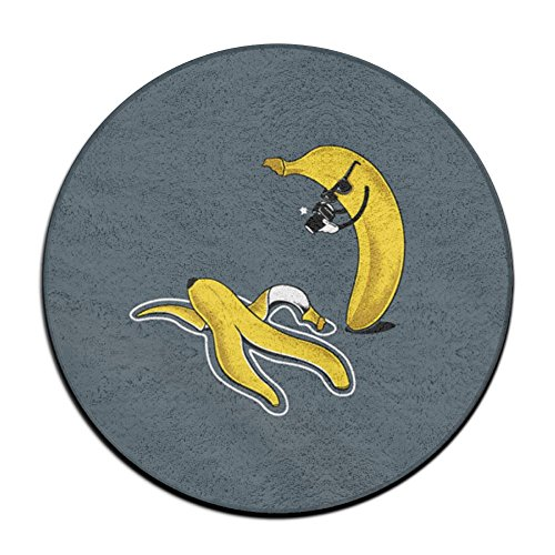 GT-0UJR Banana Murder Scene Non-slip Mats Circular Carpet Mats Dining Room Bedroom Carpet Floor Mat 23.6 Inch (Welcome Mat Costume)