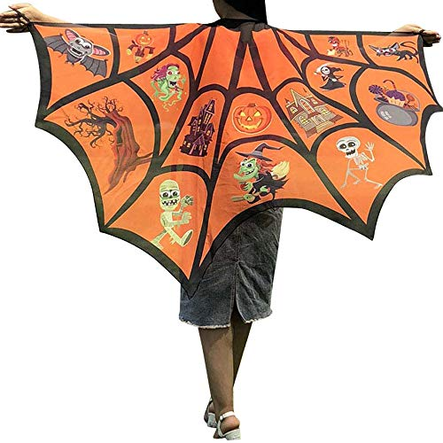 (DEATU Halloween Costume, Novelty Pumpkin Print Cape Scarf Halloween Poncho Shawl/Costume Accessory)