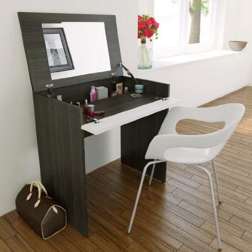 Nexera 402333 221633 Mirror, Also Writing Desk, Ebony and White Vanities Matte Lacquer Laminate
