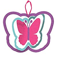 "Glitter Butterfly Spinning Decoration with Ribbon Hanger Spring Fever Party Decoration (1 Piece), Multi Color, 11 3/8"" x 14""."