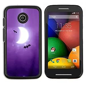 Caucho caso de Shell duro de la cubierta de accesorios de protección BY RAYDREAMMM - Motorola Moto E - Murciélagos Arte Dibujo púrpura de la luna de la Media Luna