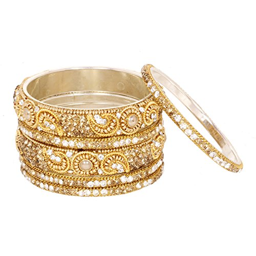 Bangle Wedding Jewelry - Ratna Indian Ethnic Gold Plated Peach Stone Bangle Traditional Wedding Jewelry Set (2.8)