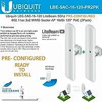 Ubiquiti LBE-5AC-16-120 PRE-CONFIGURED 5GHz LiteBeam AC 11ac 16dBi PoE (2 PACK)