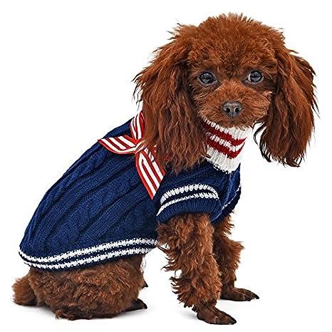 YongYeYaoBEN Suéter de Cuello Alto para Mascotas con Bowknot Abrigo de Invierno para Perros Cachorro de