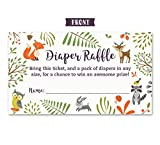 Woodland-Diaper-Raffle-Tickets-with-Owl-and-Forest-Animals-Pack-of-50-Fill-In-The-Blank-Unisex-Design-Suitable-for-Boy-or-Girl
