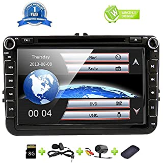 Discount 8 Inch Car Radio Touch Screen Double Din Head Unit Car Receiver Stereo in Dash GPS Navigation with Bluetooth CD DVD for Volkswagen VW Passat Golf MK5 Jetta Tiguan T5 Skoda Seat with Backup Camera