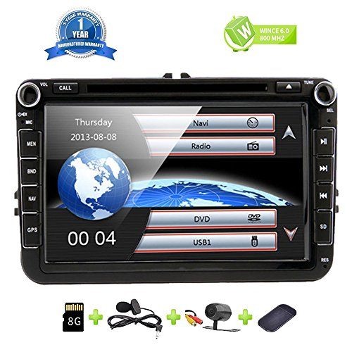 8 Inch Car Radio Touch Screen Double Din Head Unit Car Receiver Stereo in Dash GPS Navigation with Bluetooth CD DVD for Volkswagen VW Passat Golf MK5 Jetta Tiguan T5 Skoda Seat with Backup Camera (Best Double Din Head Unit Under 200)