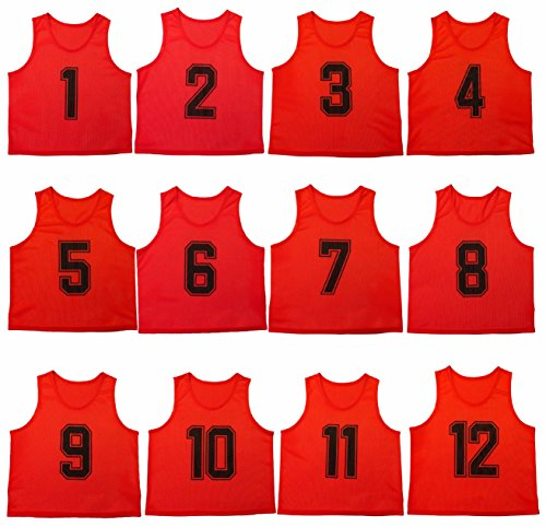 3de333f0a59 Oso Athletics Set of 12 Premium Polyester Mesh Numbered Jerseys Scrimmage  Vests Pinnies w  Carrying Bag for Children