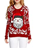 Image of Ugly Christmas sweater, V28 Women Girls ladies 3D Cute Santa Xmas Knit Sweater(XL, Cute Red)