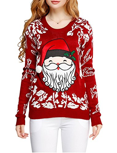 [Ugly Christmas sweater, V28 Women Girls ladies 3D Cute Santa Xmas Knit Sweater(XL, Cute Red)] (Xxl Santa Suits For Sale)