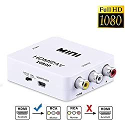 HDMI to AV/RCA, Okela 1080P Mini HDMI to o AV 3RCA CVBs Composite Video Audio Output Converter Adapter, Supporting PAL/NTSC with USB Charge Cable for PC Laptop Xbox PS4 PS3 TV STB VHS VCR Camera DVD