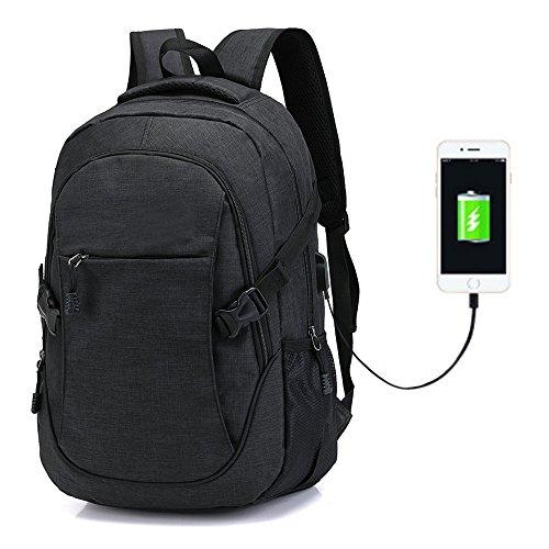 Men Women Laptop Travel Backpack Slim Water Resistant 2 Way Zipper College School Computer Bag with USB Port Fits 15.6 Inch Laptop