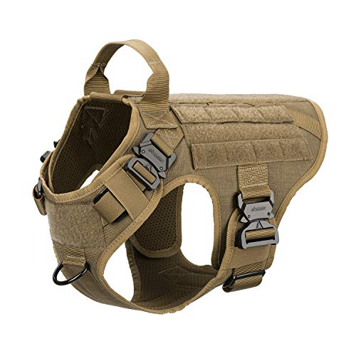 ICEFANG Tactical Dog Harness,K9 Working Dog Vest,No Pulling Front Clip Leash Attachment,Hook and Loop Panel for ID Badge,Sturdy Handle (M (25'-30' Girth), Coyote Brown-4x Metal Buckle)
