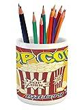 Ambesonne Retro Pencil Pen Holder, Vintage Grunge Pop Corn Commercial Print Old Fashioned Cinema Movie Film Snack Artsy, Printed Ceramic Pencil Pen Holder for Desk Office Accessory, Multicolor
