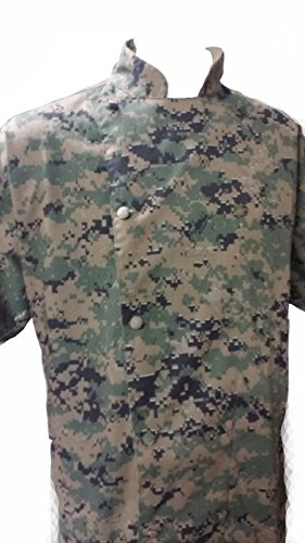 Chefskin Military Camo Camouflage Professional Chef Jacket with Mandarin Collar and Short Sleeve in Woodland Marpat for Adult (small-44in) (Marpat Coat)