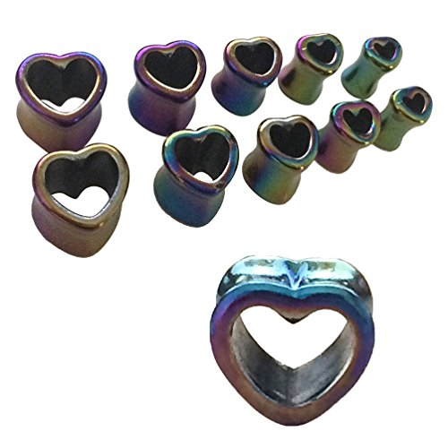 10 Pieces Plugs Kit Acrylic Rainbow Heart 2G-14mm Tunnel Kit Double Flare Plugs Set - 5 Pairs (Kits Rainbow Heart)