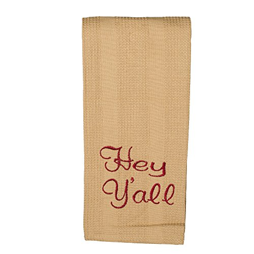 Hey Y'all 19 x 28 All Cotton Embroidered Waffle Kitchen Towel