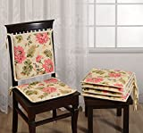Swayam Printed 200 TC Cotton 2 Piece Chair Pads with Loop - 16'x16', Off-White
