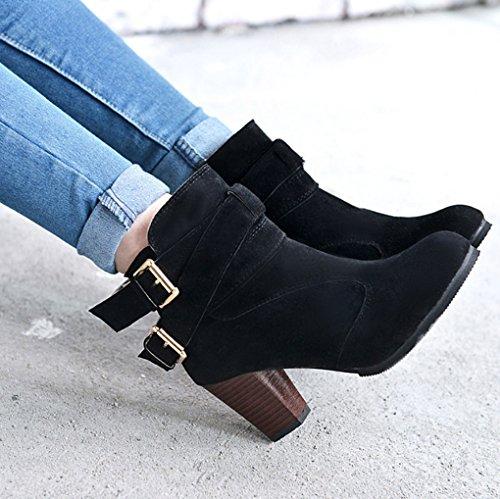 de Alto Botas Mujer y Tacón Europa Cortas XZ Botas descubiertas de Negro Grueso Unidos Tacón Estados Botas Zapatos FB6nzUcaq