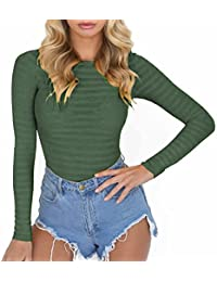 Womens Long Sleeve Striped Basic Solid Round Neck Bodysuit Stretchy Leotards