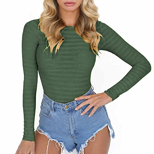 (PALINDA Women's Long Sleeve Striped Basic Solid Round Neck Bodysuit Stretchy Leotards (L,Army Green))