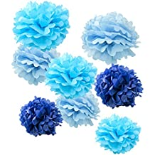 """WYZworks Set of 8 (Assorted Blue Color Pack) 8"""" 10"""" 12"""" Tissue Pom Poms Flower Party Decorations for Weddings, Birthday, Bridal, Baby Showers Nursery Décor"""