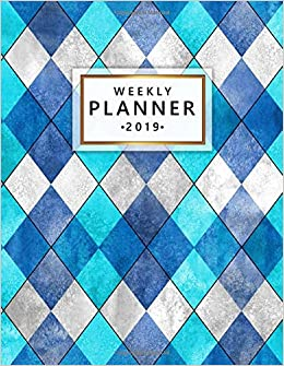 Weekly Planner 2019: Pretty Argyle Turquoise Weekly and ...
