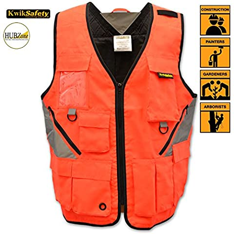 KwikSafety Reflective Tactical Utility Tool Vest   Waterproof Quick Dry Material with Ten Pockets   World Natural Disaster Volunteer, Search and Recuse Team, Emergency Crew Work Wear   (Nuclear Bomb Decal)
