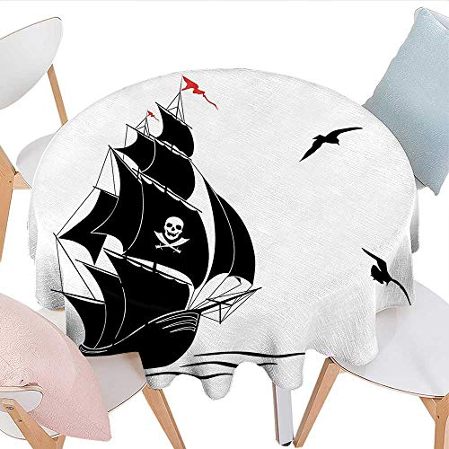 - Home-textile-print Pirate Patterned Tablecloth Silhouette of Old Sail Pirate Ship Flying Seagulls Ocean Waves Jolly Roger Waterproof Table Cover for Kitchen D54 Black White Red