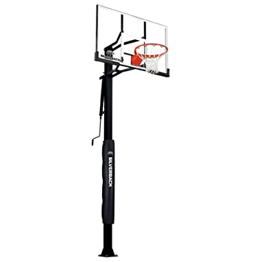 Silverback 60  In-Ground Basketball System with Adjustable-Height Tempered Glass Backboard and Pro-Style Breakaway Rim