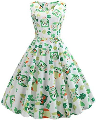 [해외]St. Patrick`s Day Costume Women`s Retro 1950s Green Floral Swing Cocktail Prom Party Dresses / St. Patrick`s Day Costume Women`s Retro 1950s Green Floral Swing Cocktail Prom Party Dresses