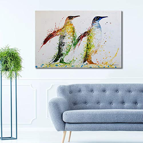 - Colorful Animal Wall Art for Living Room Hand-Painted Artwork 24x36inch 'Penguin' Framed Animal Oil Painting on Canvas Wall Art Set for Bedroom Childrens Room Gallery-Wrapped Wall Decor Ready to Hang