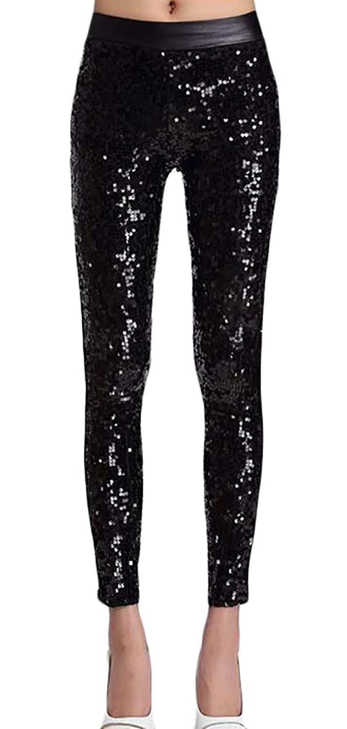 5348cc42cf Generic Women's Faux Leather with Sequins Leggings Fashion Pants Bling  Tights
