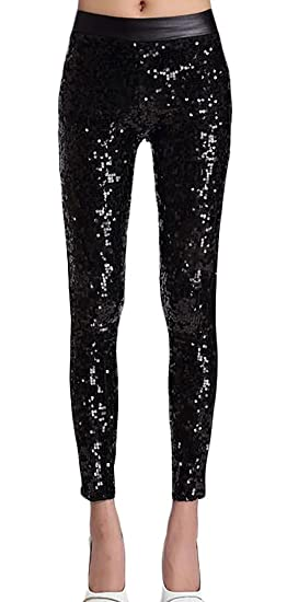 434089930ae26 Generic Women's Faux Leather with Sequins Leggings Fashion Pants Bling  Tights Black OS