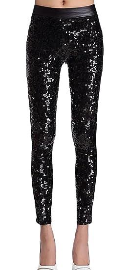 6fbff7836bab3 ouxiuli Women's Basic Sexy High Waist Slim Fit Sequin Glitter Leggings  Pants Black OS