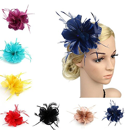 UPC 754216101548, Auranso Flax Hair Clip Feather Barrette Hairpin Party Fascinator Headband Cocktail Hat For Women Girls