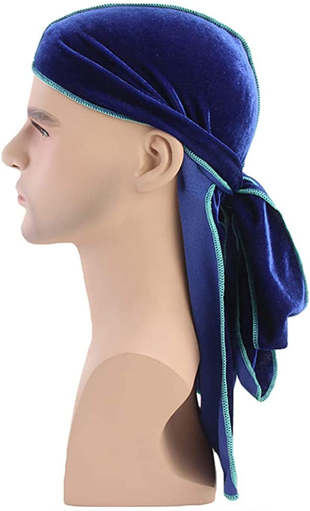 Mwfus Womens Mens Soft Durag with Extra Long Tail Wide Straps Head Wrap Pirate Cap Headwrap Du-Rag for 360 540 720 Waves