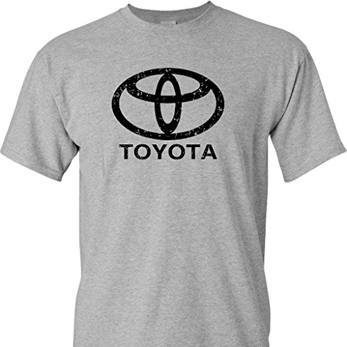Toyota Logo Distressed Vintage Print on a Sport's Grey T Shirt