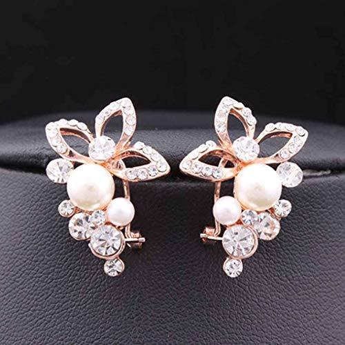 Xuanhemen 1 Pair Women Ladies Crystal Rhinestone Pearl Flower Grape Stud Earrings Wedding Party Jewelry -